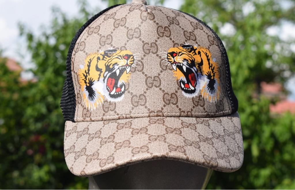 GG Supreme canvas Baseball hat adjustable Angry cat/Lion