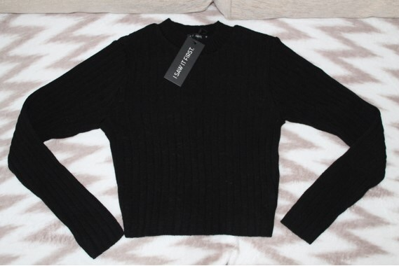 Ribbed crop long sleeve jumper (never used with label)