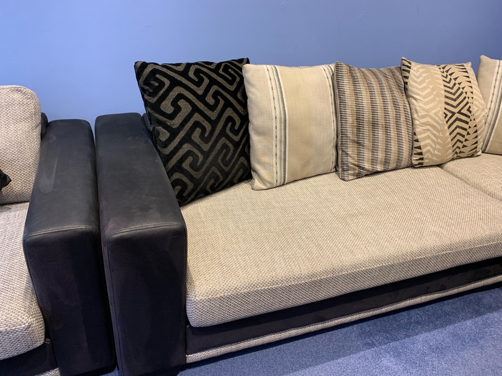 DFS large corner sofa, chair and foot stool.