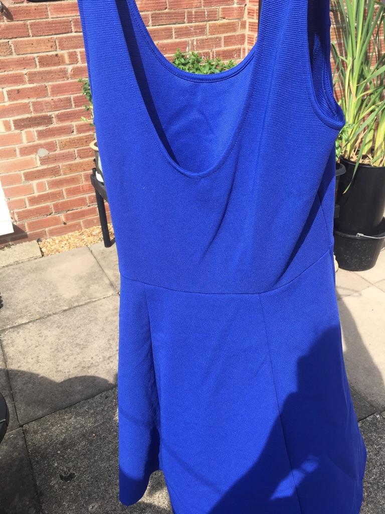 Blue ribbed skater dress