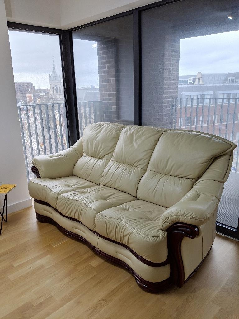 Leather and Mahogany Sofa