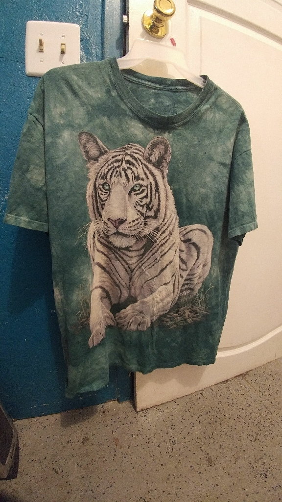 THE MOUNTAIN Teal Tie Dye White Tiger Short Sleeve T-Shirt Sz XL