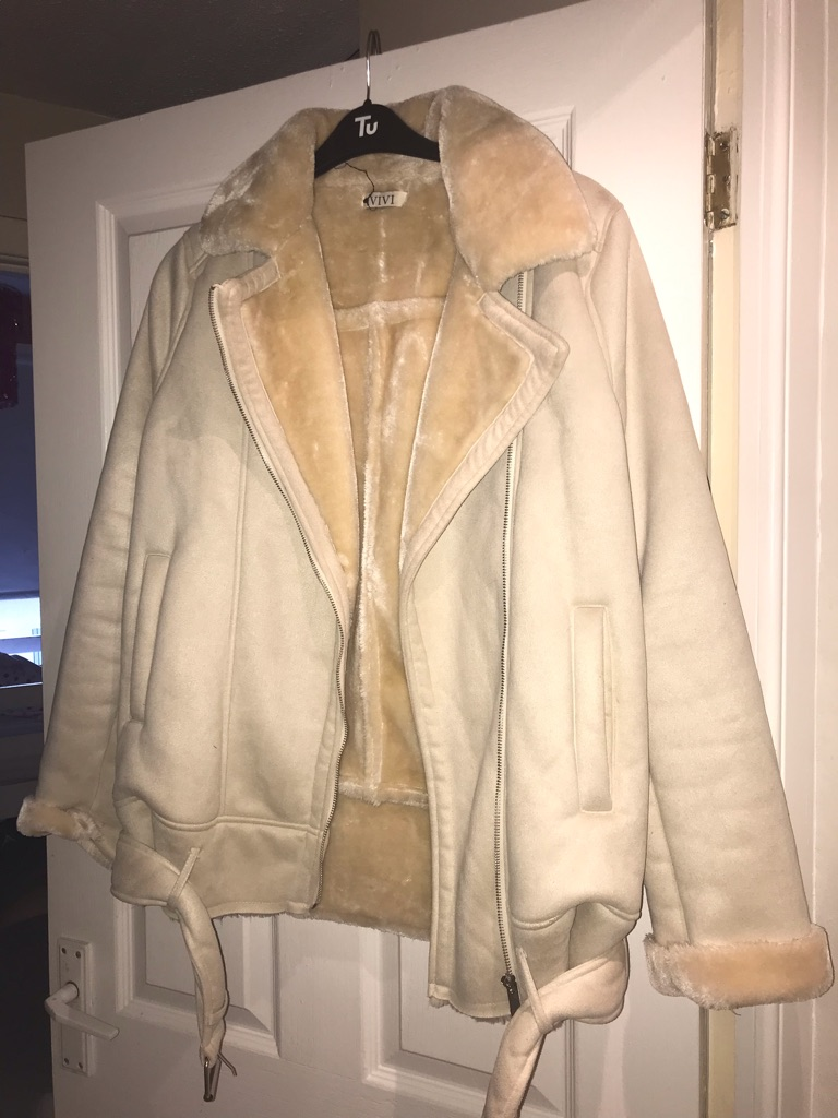 SUEDE/cream faux furr biker jacket