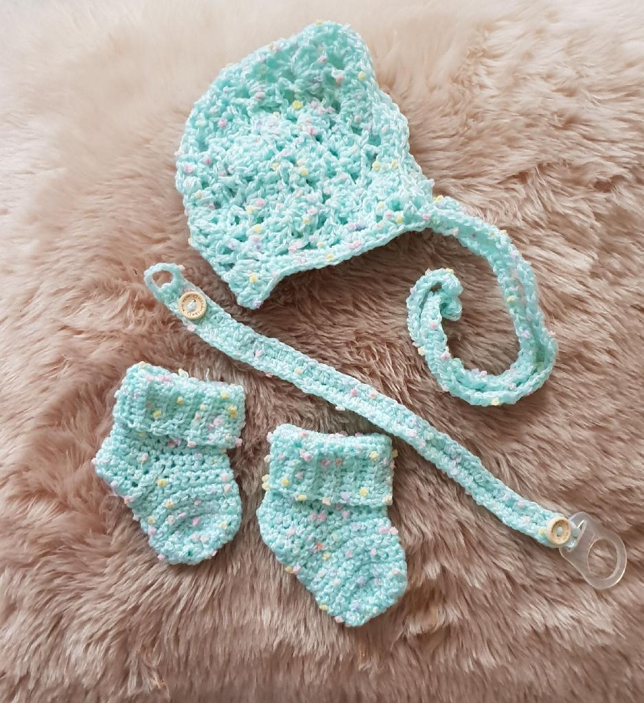 Handmade crochet newborn gift set