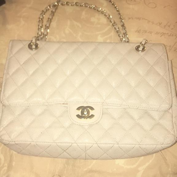 Cream Real Chanel clutch bag