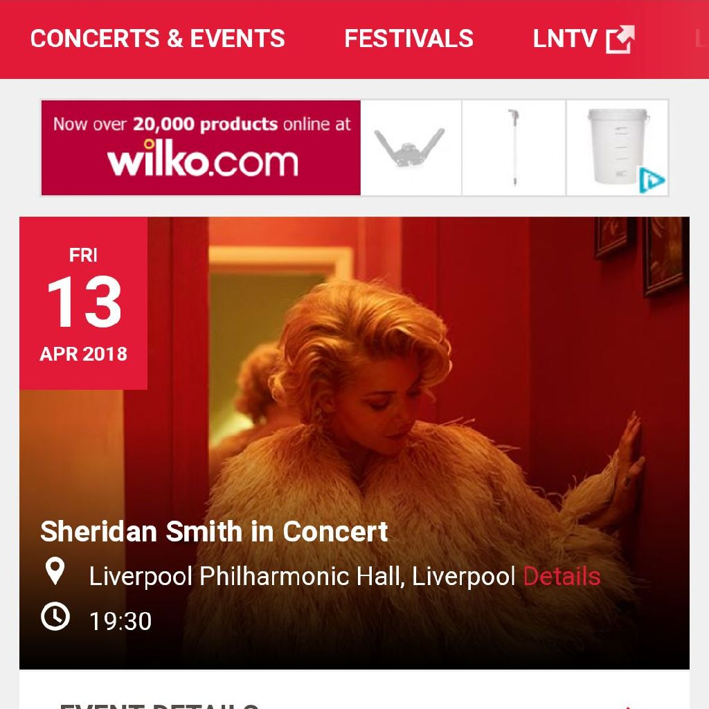 Sheridan Smith concert Friday 13th April Liverpool 2 tickets