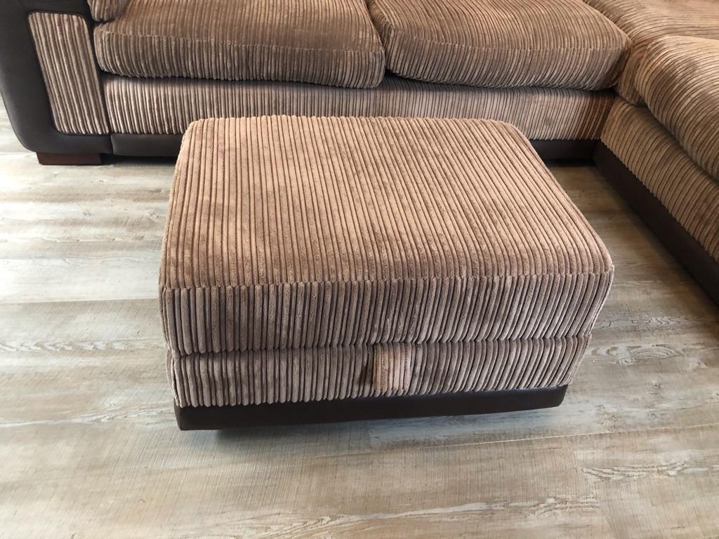 Corner sofa, cuddles chair and 2 foot stalls