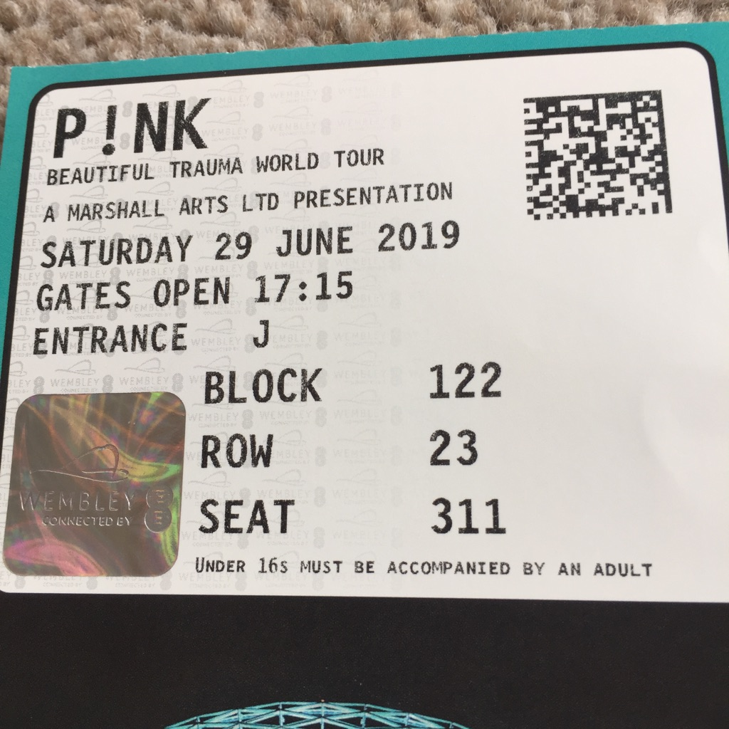 1 pink seated concert ticket