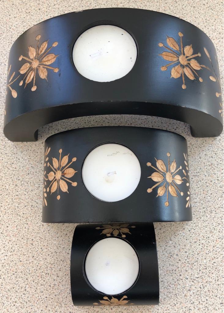 THREE STACKABLE WOODEN TEA LIGHT HOLDERS