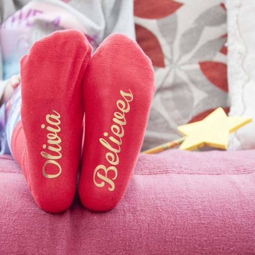 Personalised kids crimson and gold Christmas Day socks