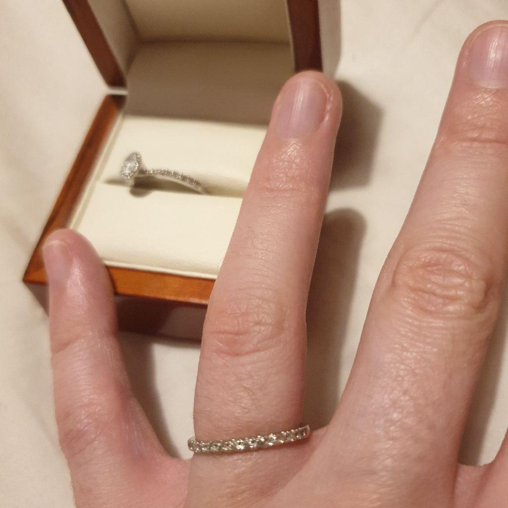 Wedding band white gold diamonds size k