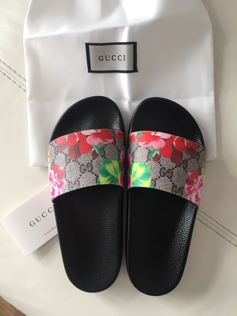 Gucci floral sliders size 6uk