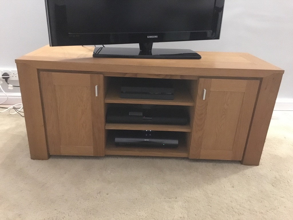 Solid oak tv unit and 2 side tables