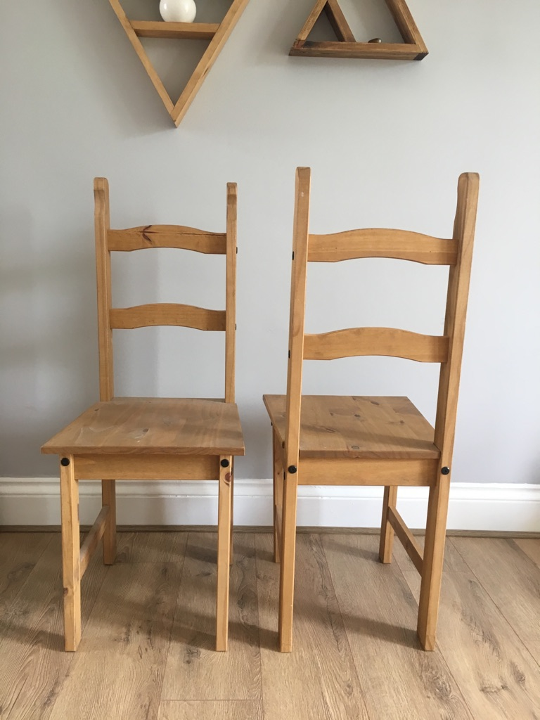 6x Corona Solid Pine low back dining chairs