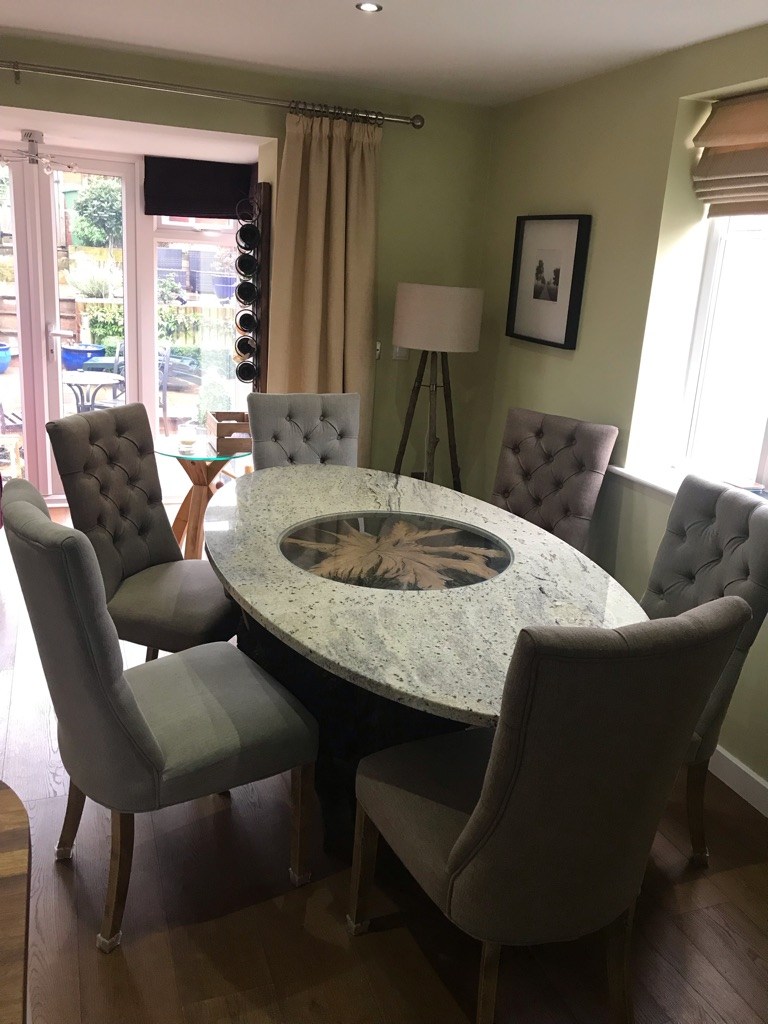 Bespoke Dining Room table and chairs. Glass, Granite and a solid tree trunk base!