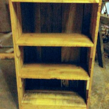 wooden book or DVD shelf
