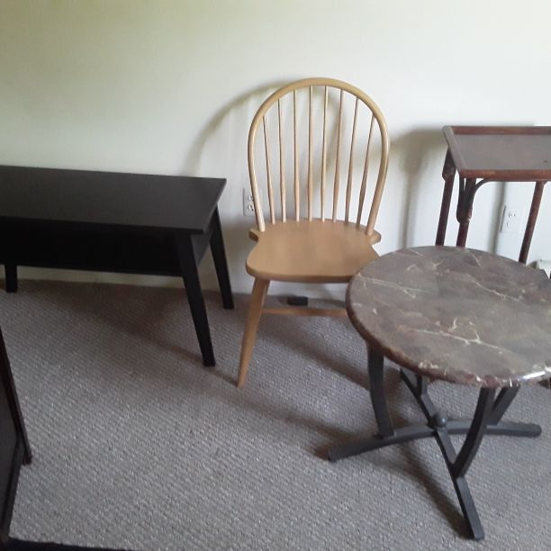 3 various types of tables one is IKEA and 1 chair