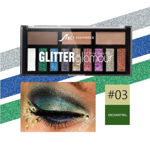 MK glitter glamour eyes, lips, brows & face palette 3