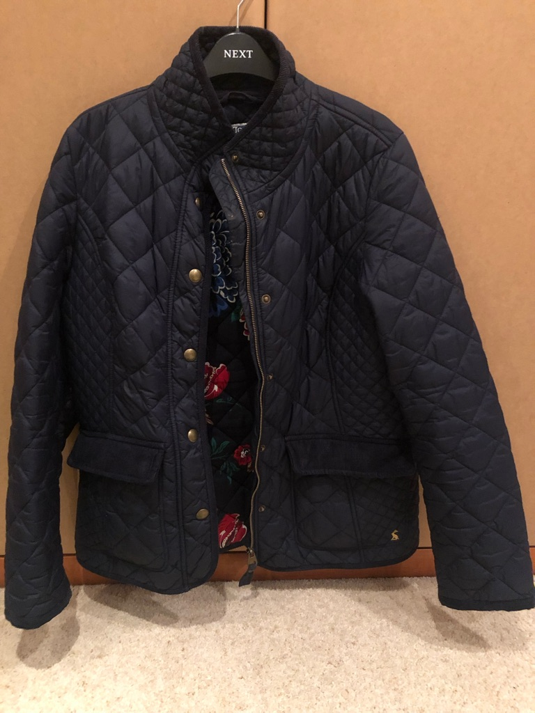 Joules Moredale Ladies Blue Navy Quilted Padded Floral Lined Jacket