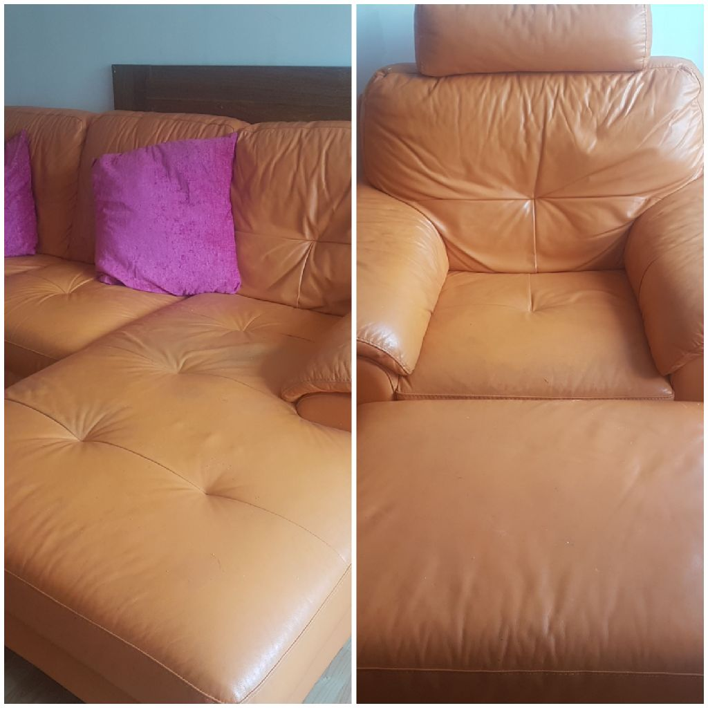 Leather sofa ,chair and footstool