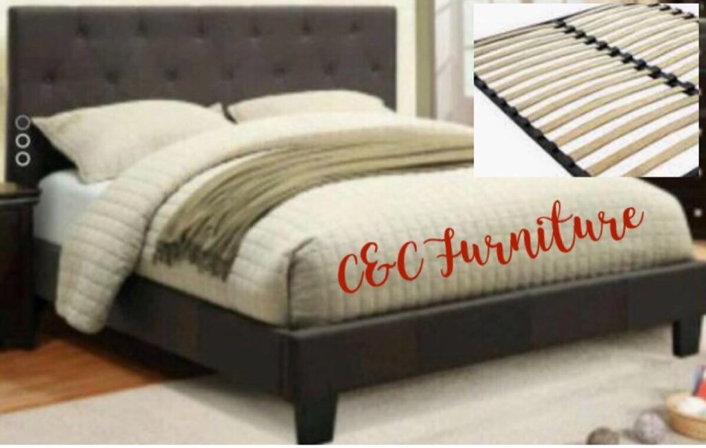 New* Queen Gray Linen Platform Bed