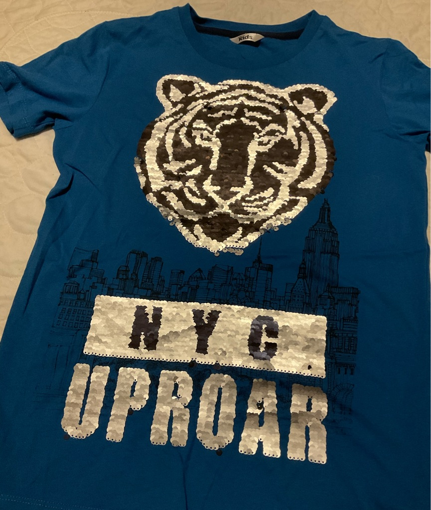 Boys NWOT M&co tiger sequin t shirt 12-13 years