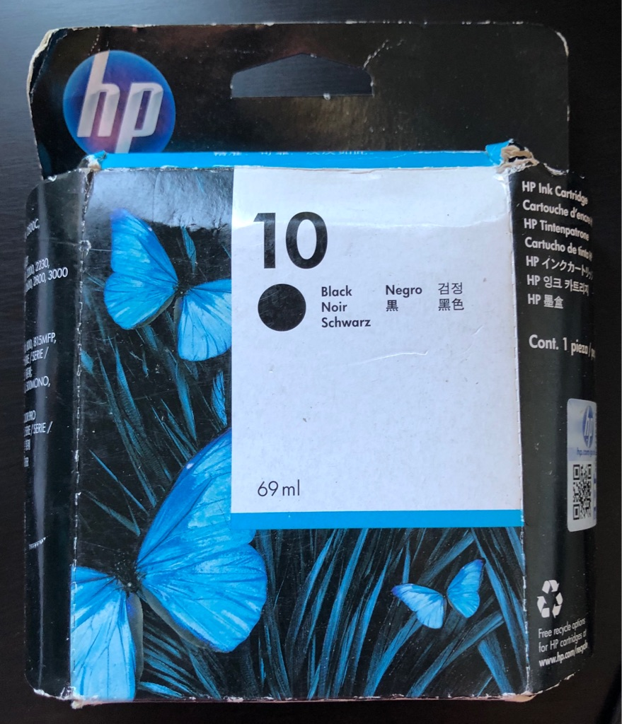 GENUINE HP10 BLACK INK CARTRIDGE