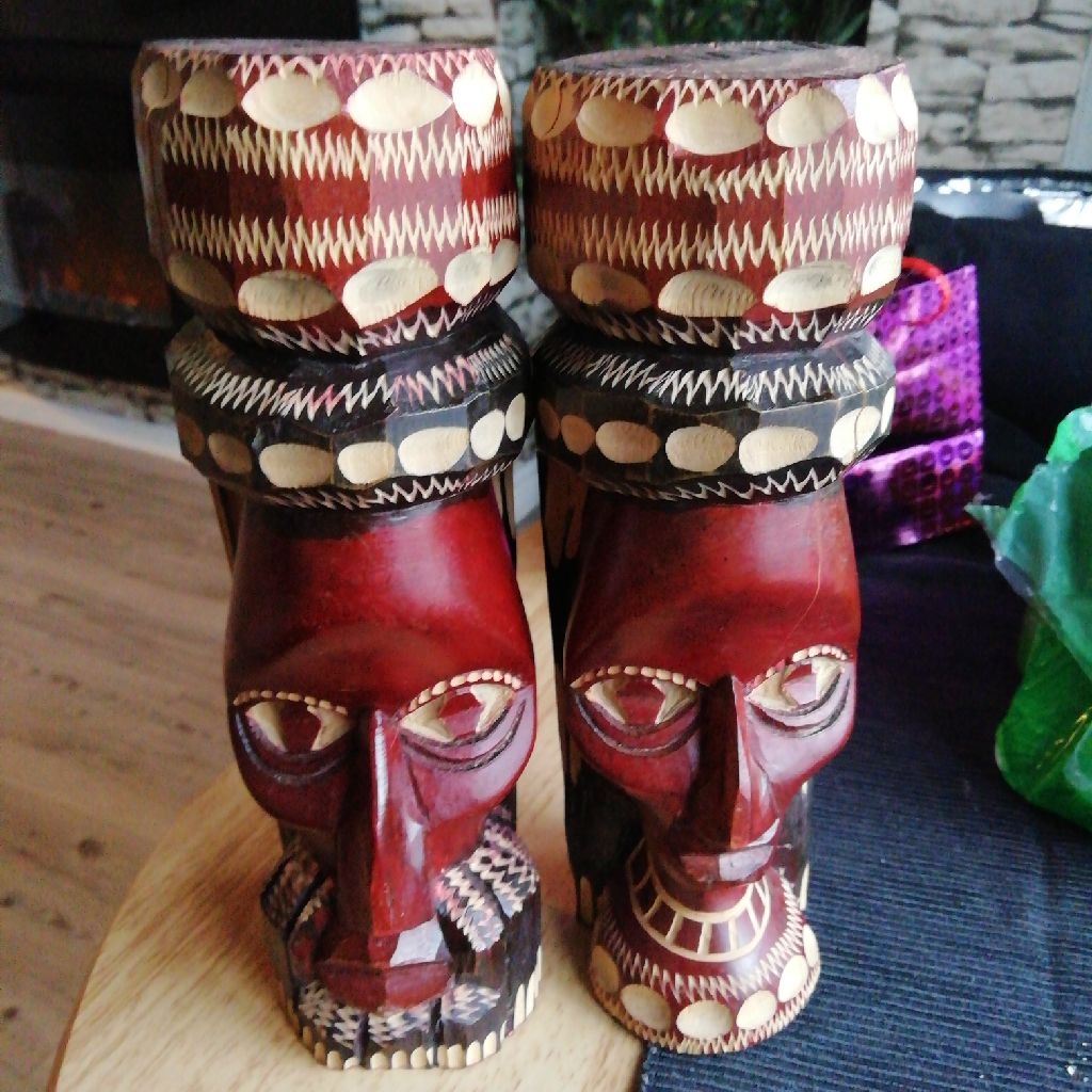 2 x wood carved african masks