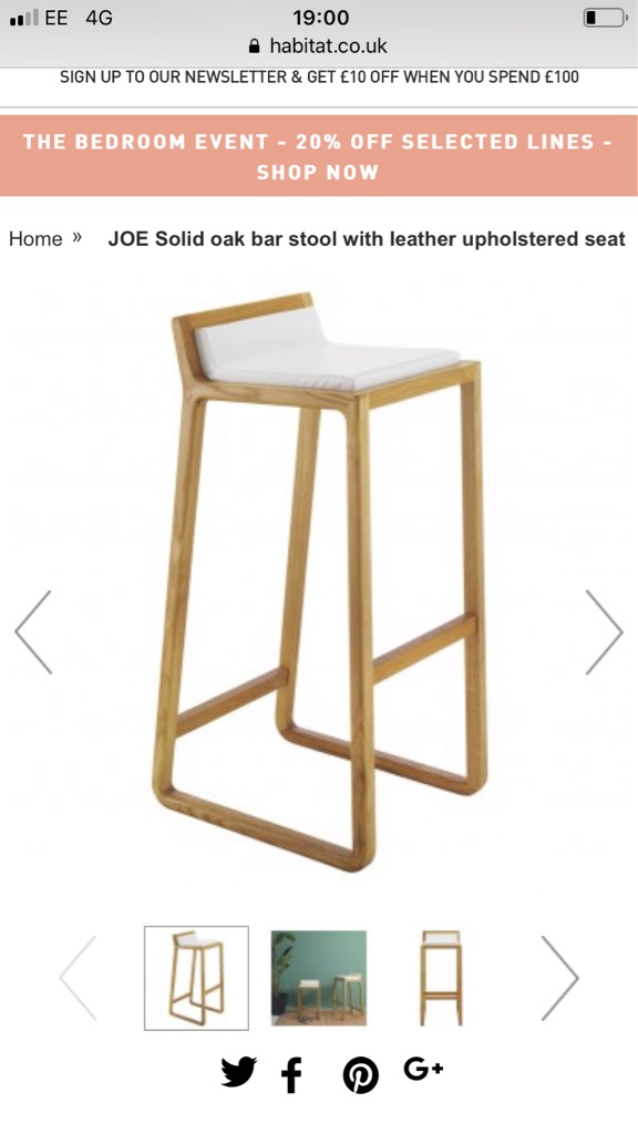 Habitat solid oak bar stool with white leather seat