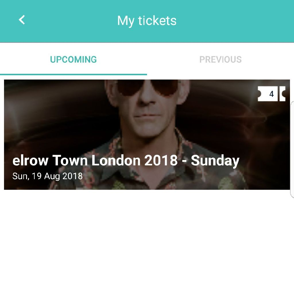4x ELROW TICKETS FOR SALE SUN 19TH AUG WITH FAT BOY SLIM