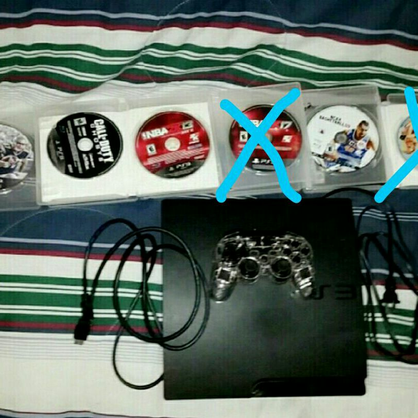 Ps3 With Controller and 4 Games