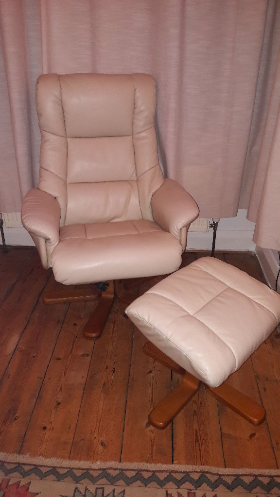 Cream Leather Recliner with stool