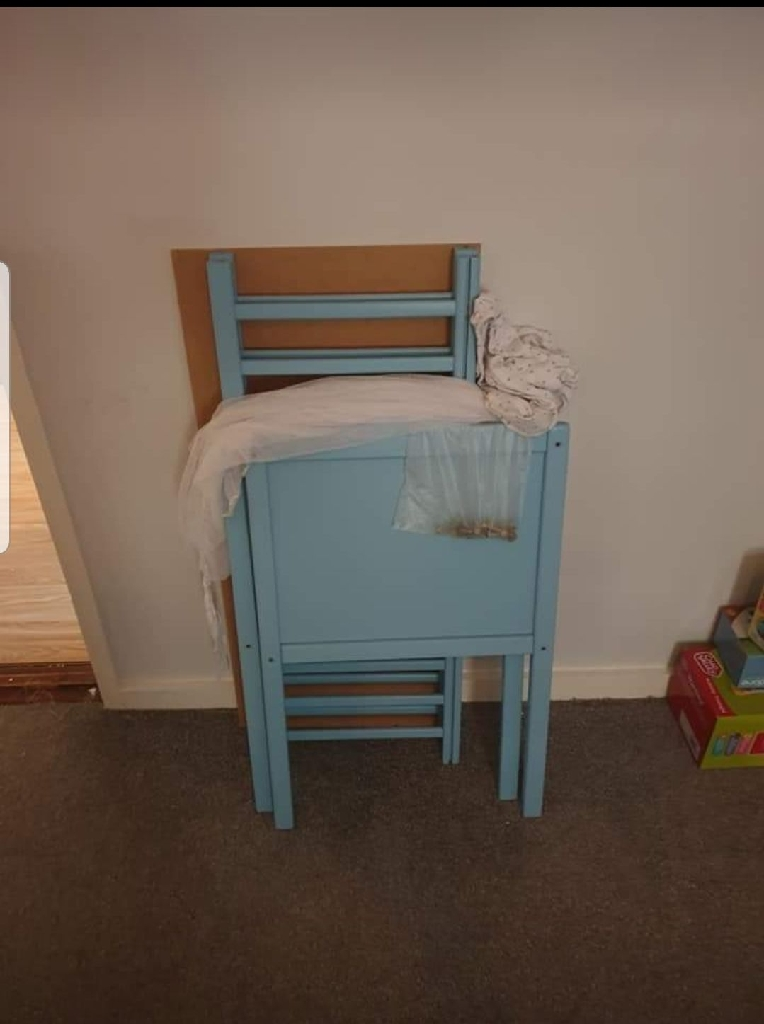 Blue crib and bedding set, comes with mattress.