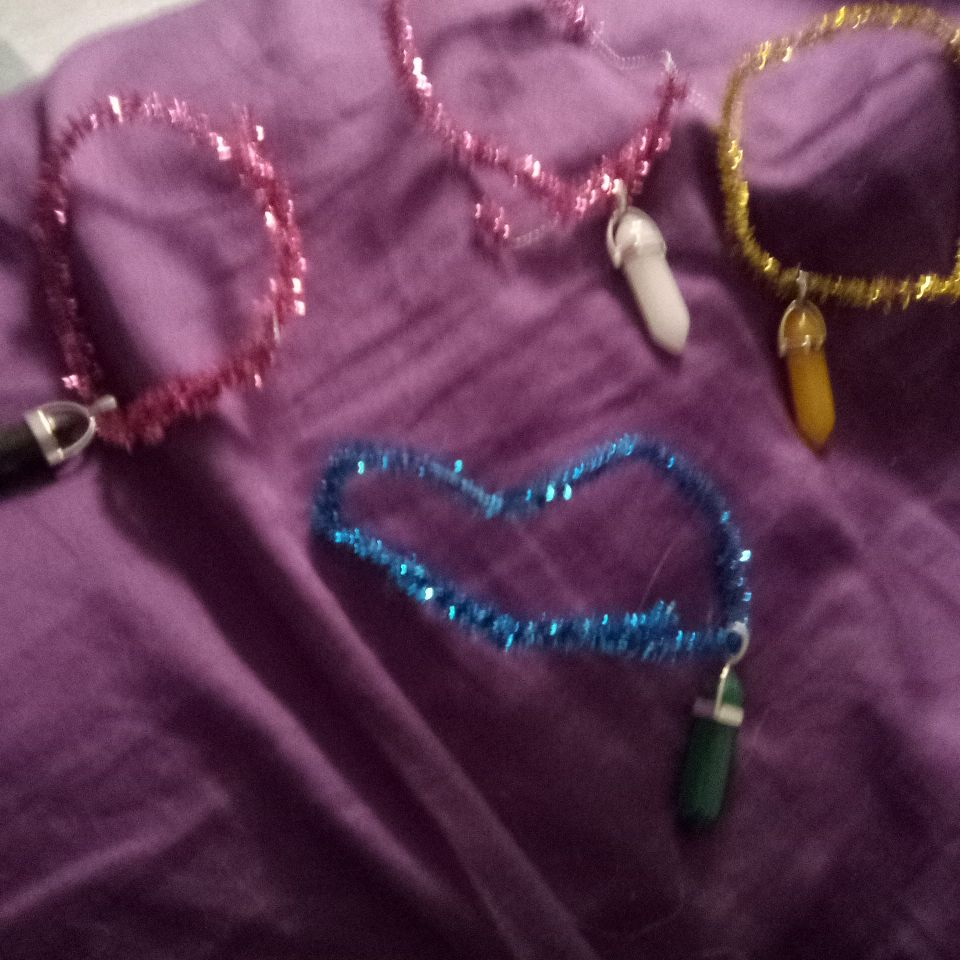 Homemade bracelets with real crystals on them $10 each