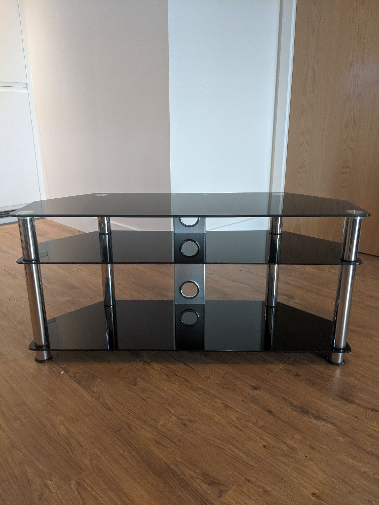 Black Tempered Glass TV stand suitable for up to 55inch
