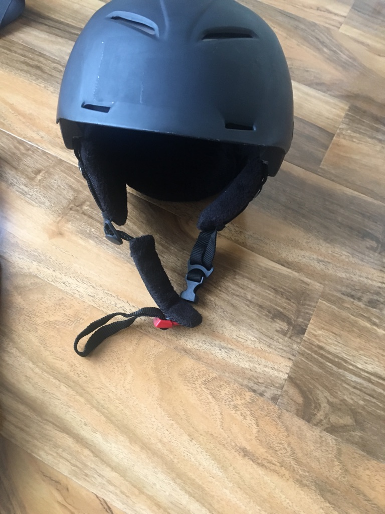 North face ski pants and helmet