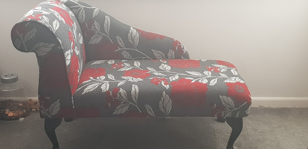 Red and grey chaise lounge