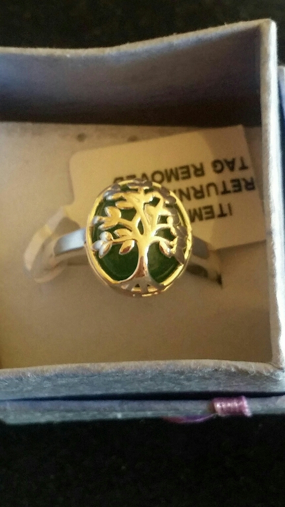 Sterling silver Jade Tree of life ring