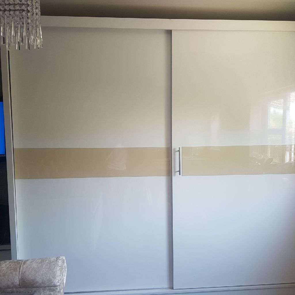 Double white gloss wardrobes
