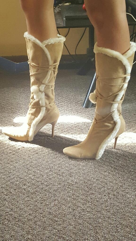 Beige knee boots