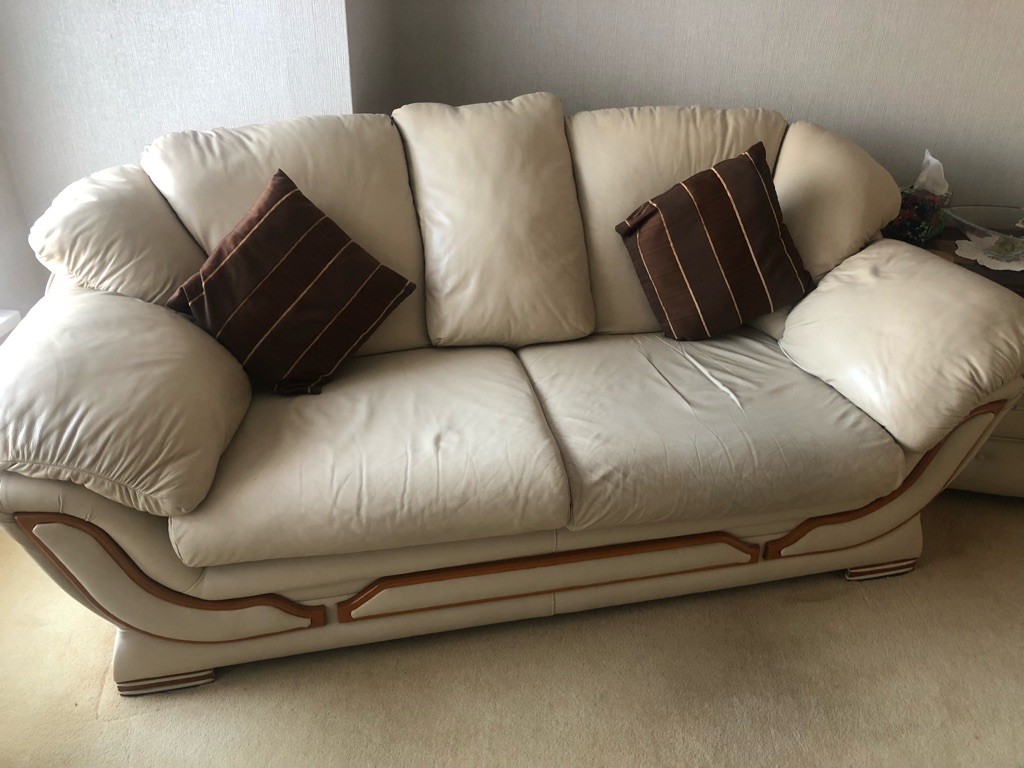 2x 3 seater sofas with foot stool