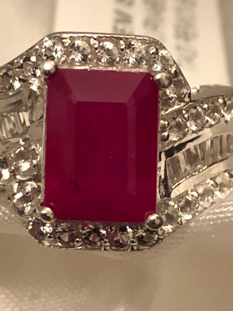 African Ruby Zircon Ring Size M Sterling silver 925 with rhodium overlay New