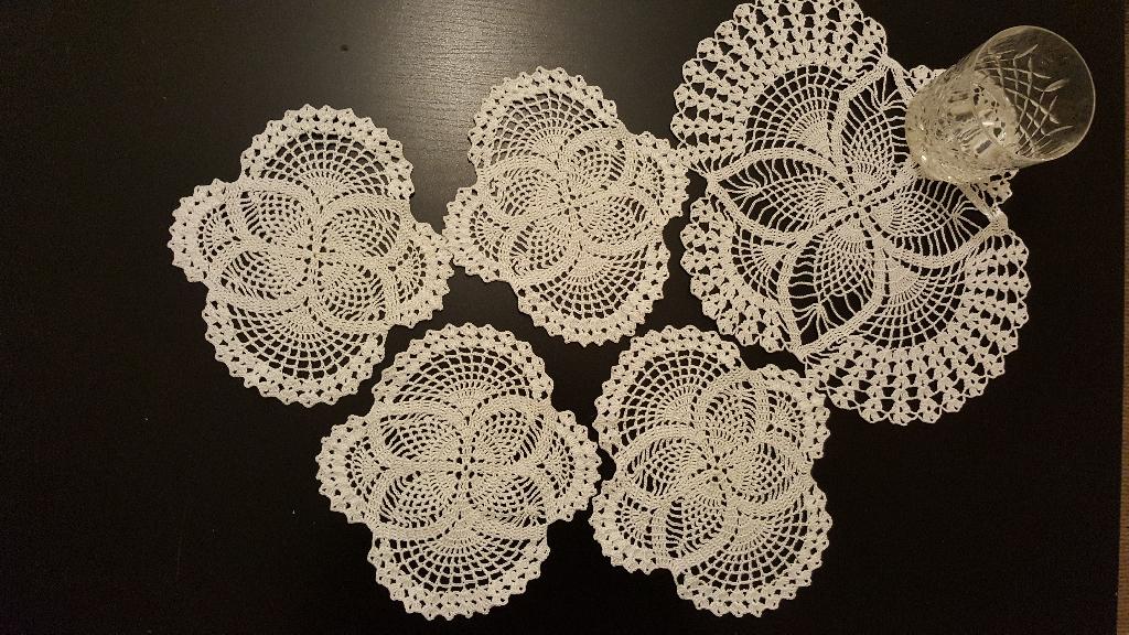 Crochet art coasters and tea tray
