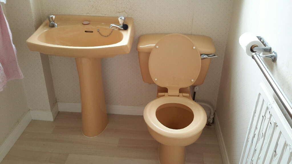 Butterscotch coloured toilet and wash hand basin good condition