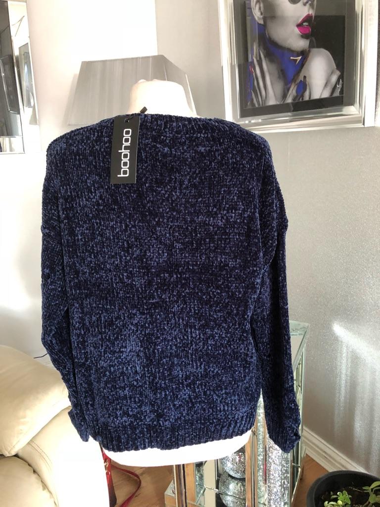 Women's blue chenille distressed jumper size M/L