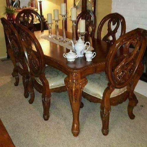 TUSCANY ANTIQUE CHERRY WOOD DINNING TABLE