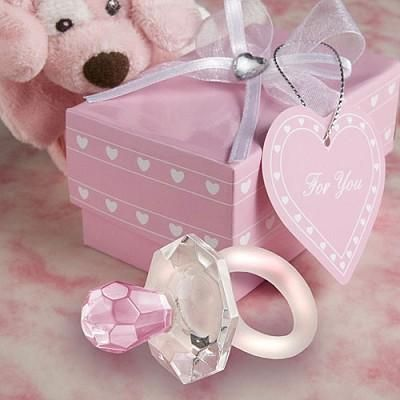 Crystal pink or blue pacifer