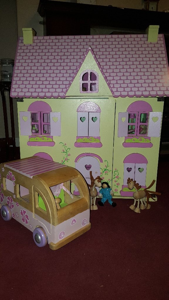 Wooden Dolls House with accessories and camper