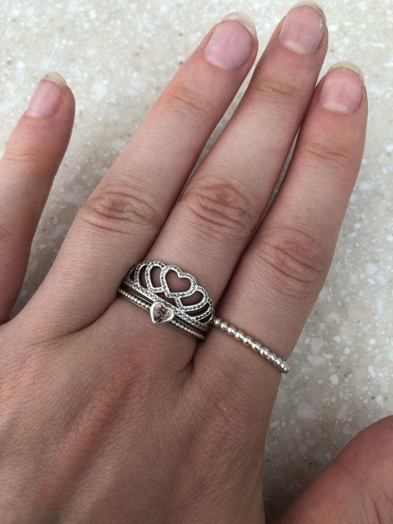Pink pandora heart ring size 60