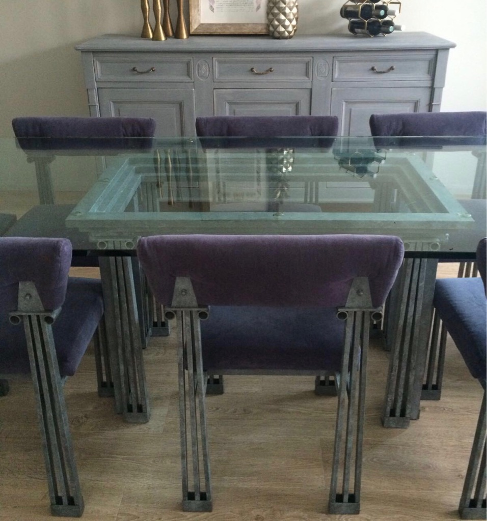 Glass Dining Table and Chairs Set - Grey